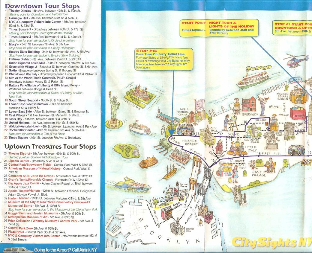 CitySights NY Map on